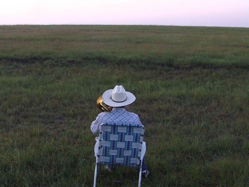 Derek Klingenberg kansas farmer trombone serenade cattle